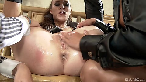 Lesbian squirting and shaved pussy oil play with Amirah Adara and Tiffany Doll and Vanda Lust