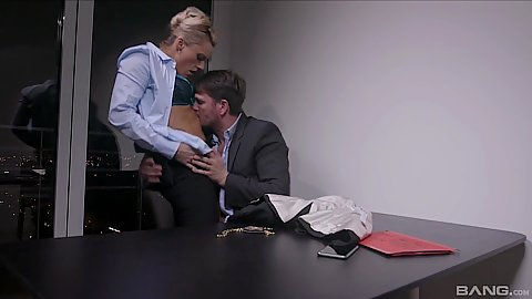 Police station office making out in interrogation room