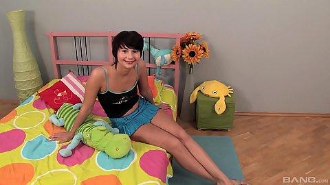 Miniskirt petite 18 year odl gf Nadya showing off her nice deep throat skills