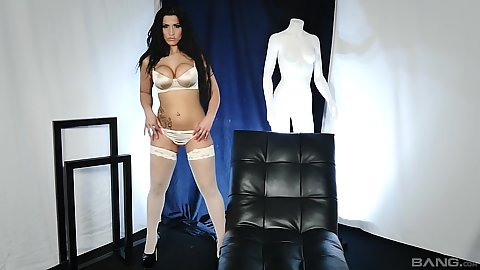 Incredible Sonia Kel in stockings feeling her body up