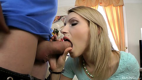 Large cock blowjob with Lana Roberts attemping to do well during casting