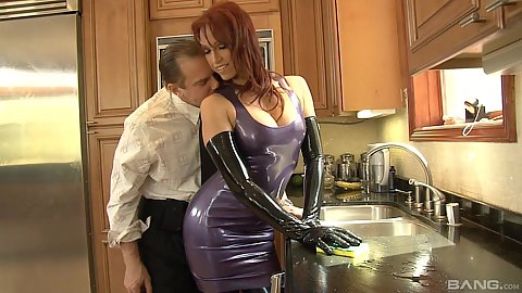 Latex fetish with kinky redhead milf Nikki Hunter enjoying ass licked and touched