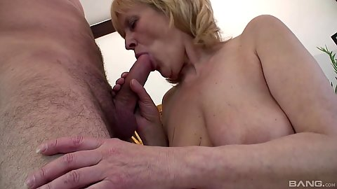 Cock sucking granny Adriana getting nicely fingered after