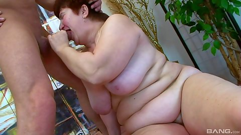 Mature bbw redhead big chested woman blowjob and fingering