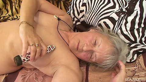 Sex toy masturbation and jerking young mans penis with old timer grandma