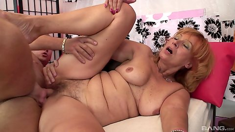 Old mature hairy woman fucking younger mans dick in the sideways sex