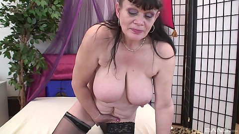 Big boobed lingerie solo granny playing with twat and her saggy boobies