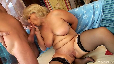 Big chested granny Claudie fucking young cock in 1 on 1