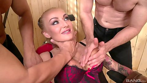 Lingerie rough sex with milf Kayla Green in corset groped