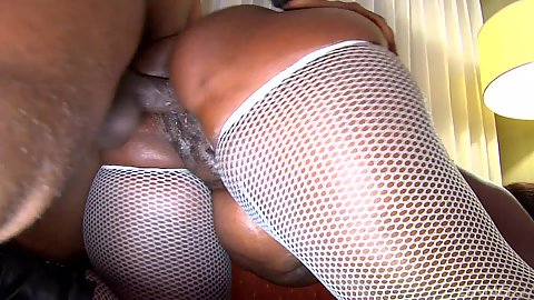 Horny black mma Tyran fucked in big ass from behind wearing fishnet stockings