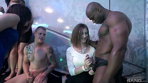 Cfnm handjob and sucking some dick with male stripper and naughty sluts