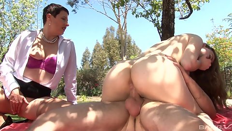 Jay Taylor and Kali Karinena cowgirl fucking on picnic blanket outdoors with gf and mature mom watching