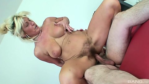 Hairy vagina mature reverse cowgirl Renate riding penis and fucked from rear