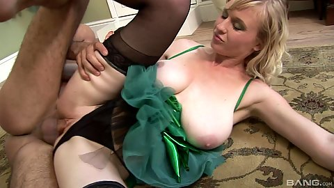 Sideways big chested milf in fairy costume fucked on the carpet