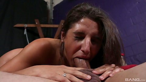 Deep throat with fetish bdsm latina rough dick sucking and fucking in dungeon Abella Danger