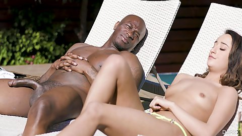 Tanning with topless college white girl Isabella Nice and she jumps on big black dick
