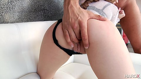 Ass fingering pulled to the side underwear Kimmy Granger and fucked from the rear