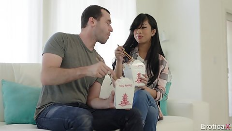 Eating some take out with college agian girl Jade Kush doing sensual kissing