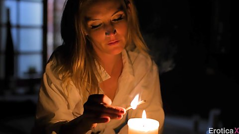 Romantic candle sensual setup from fully clothed blonde Mona Wales
