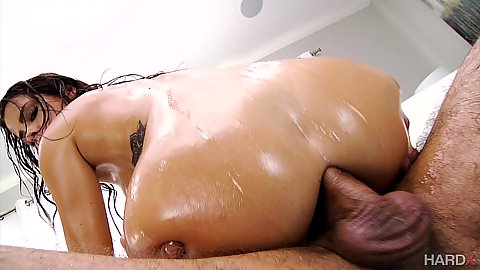 Anal cock riding with wet ass in oil rough screwed Keisha Grey