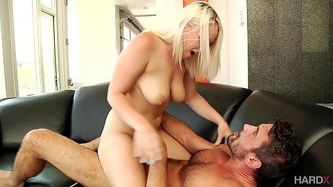 Hadley Viscara sits on dick while natural boobs bounce Hadley Viscara