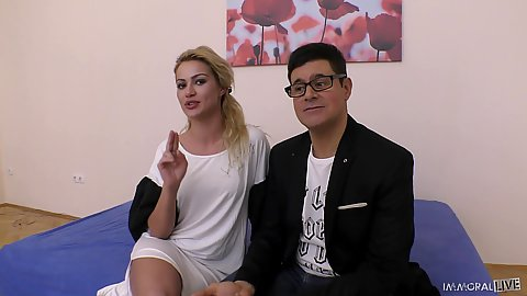 Talking up skinny cheerful Serbian Cherry Kiss and then she takes out a vibrator and massages her outie pussy for squirting attempt