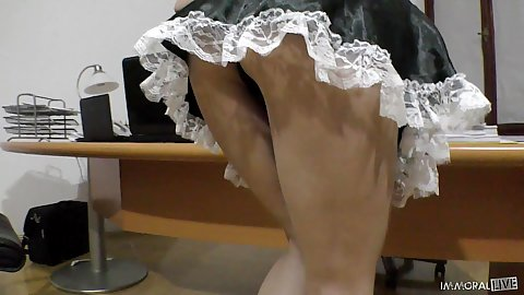 Lingerie maid Lilu Moon doing some cleaning around the office