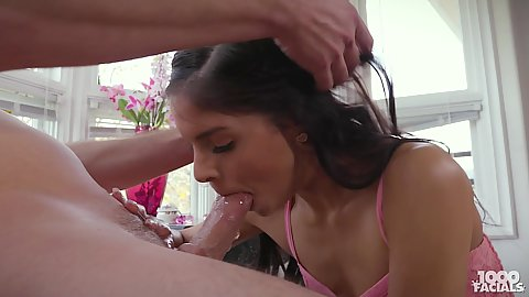 Cock sucking slobbering sounds witih petite gagging little cute latian teen Katya Rodriguez opening wide for facial cumshot