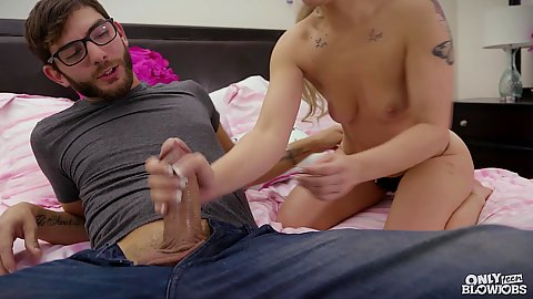 Handjob from gorgeous young small chested daddys teen slut girl Bella Jane giving oral as well and deep throat