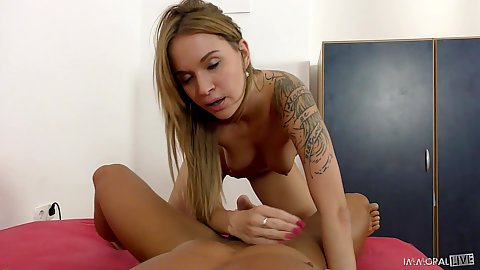 handjob and pull out cumshot for trimmed vagina tattooed reality college girl Angel Piaff in pov