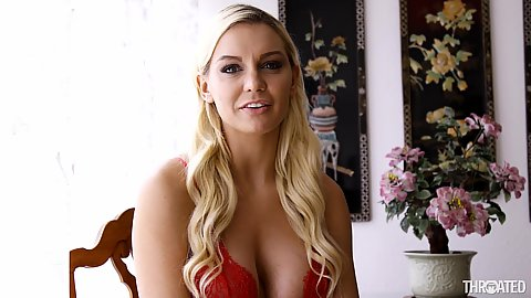 Smashing babe in bra with cleavage showing Kenzie Taylor sucks thick dick in pov