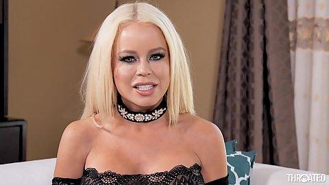 Blonde milf with large melons latina in lingerie Nikki Delano sucking off a huge black shaft