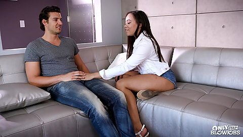 Fully clothed petite college aged girl Adriana Maya wearing skimpy shorts and doing deep throat