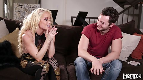 Blonde milf fully clothed Nikki Delano in stripping mommy deep throat