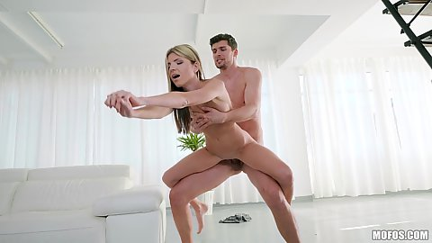 In the air cock bouncing with petite and skinny euro girl Gina Gerson working on lage cock