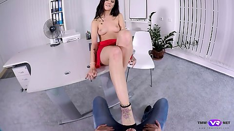 Stripping naked for office sex with the employer Lullu Gun