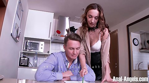 Hazel Dew making out and going down on her tutor
