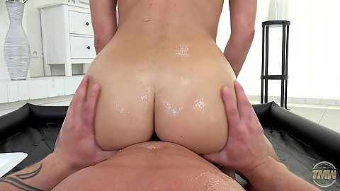 Passionate oiled up booty Nikky Perry sits on mans penis during white girl nuru massage