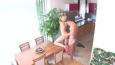 Daring blondie fucked in the kitchen from behind Katy Sky
