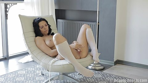 Self pleasing large boobed brunette euro babe Beatrice
