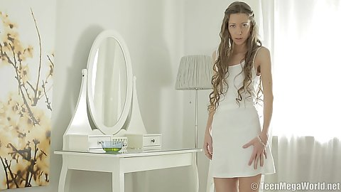 Teen babe Kali in sexy white dress and milky perfect body gets naked