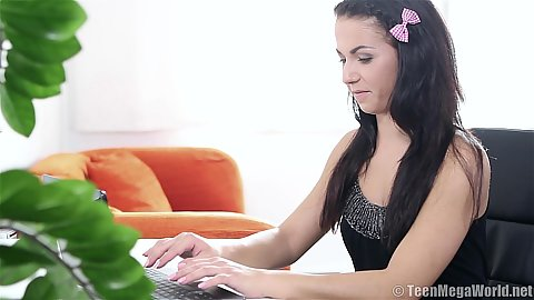 Hot 18 year old Debra C udoing some work done on her computer and then playing with clit