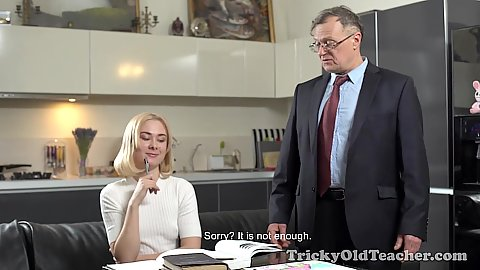 Blonde 18 year old Via Lasciva is feelig horny and wants to fuck her old age tutor