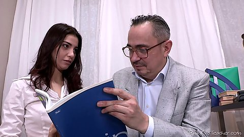 Brunette petite 18 Esenia feeling the need to fuck her old man tutors cock and suck it