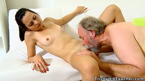 Beautiful young 18 year old cutie with little body Lora gets licked and penetrated by old mans dick