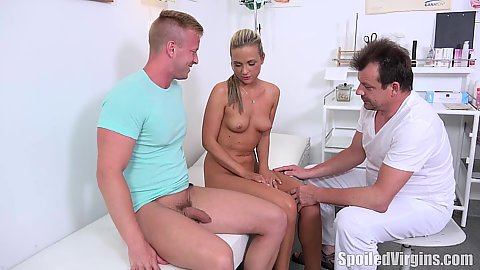Naked girl in doctors office exhilarating Petra shows how she sucks her bfs dick to doctor