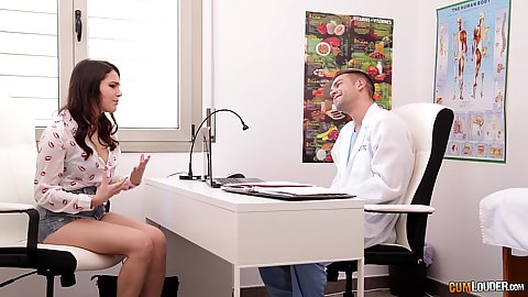 Brunette honey Valentina Nappi visiting her doctor to have her hard nipples checked out but he does more than that