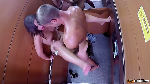 In the air fuck and cowgirl sex in a very stuffy stopped elevator Amirah Adara being quite sweaty