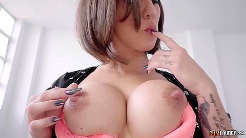 Big boobs and hard nipples with feisty milf Betty Foxxx taking control by pulling out her breasts and tossing mans salad