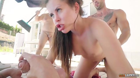3 on 1 outdoor Potro and Pony gang banging  lovely brunette Cassie Fire outdoors with another mans dick